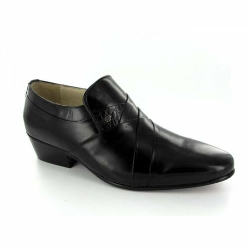 e2bb7873c0e Details about Montecatini MORALES Mens Soft Leather Reptile Stud Cuban Heel  Dress Shoes Black