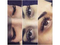 Individual eyelash extensions, Russian volume eyelashes, LVL, semi perm make up/ Microblading