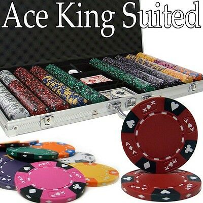 New 750 Ace King Suited 14g Clay Poker Chips Set w/ Aluminum Case - Pick Chips! ()