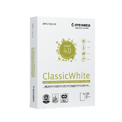 "Steinbeis ""Classic"" A4 Printer Paper 80gsm 5 reams 2500 sheets 100% recycled"