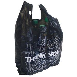 500x Tragetüte schwarz Hemdchentragetasche Plastiktüte THANK YOU 54x28+12cm 24my