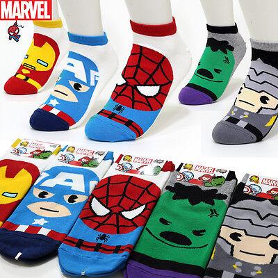 5 Pairs Avengers Cartoon Socks Women Girl Big Kids Marvel Comics Character Socks
