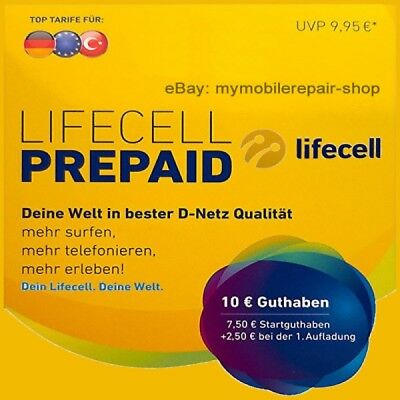 Lifecell Turkcell ✔ Prepaid SIM Karte ✔ 7,50€+2,50€ ✔ D1 NETZ ✔ 4G ✔