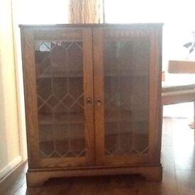 Oak leaded glass door cabinet