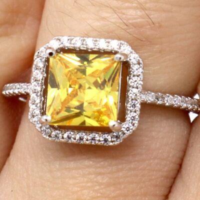 Gorgeous Citrine Ring Women Wedding Jewelry Size 6 7 8 9 14K White Gold Gift Box