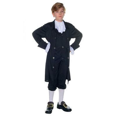Colonial John Adams/Jefferson Child 3 Pc Blk Coat/Vest Pants & Jabot Costume Lg