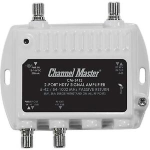 Channel Master Ultra Mini 2 Way 11.5dB Distribution Amplifier (50-1000MHz) - CM3412