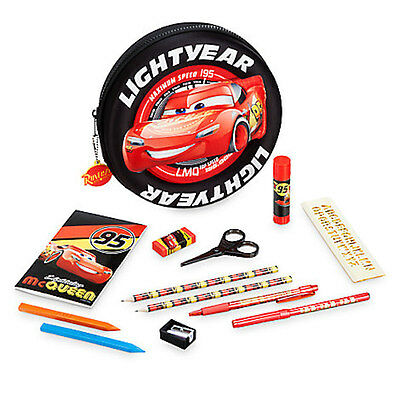 NWT Disney store Cars Lightening McQueen Zip up stationary Kit School Supplies