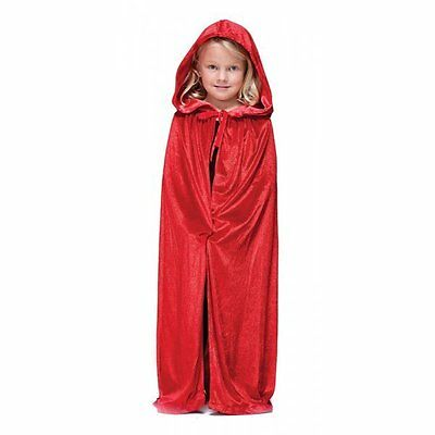 GIRLS RED VELVET CLOAK CAPE MEDIEVAL TUDOR HALLOWEEN FANCY DRESS COSTUME
