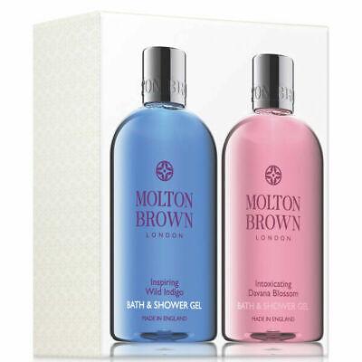 Molton Brown Inspiring Wild Indigo & Davana Blossom Bath and Show Set 300ml Each
