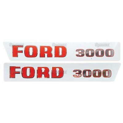 Ford 3000 1965-1968 3-cyl Tractor Basic Hood Decal Set