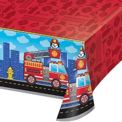 Fire Department / Fireman Party Supplies PLASTIC TABLECOVER TABLE COVER (Fire Party Supplies)