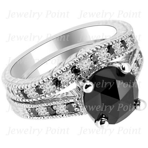 3.15ct Black Diamond Matching Engagement Ring Wedding Band Set Antique Vintage