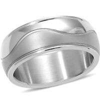 Stainless Steel Waves Men's Ring Size 13