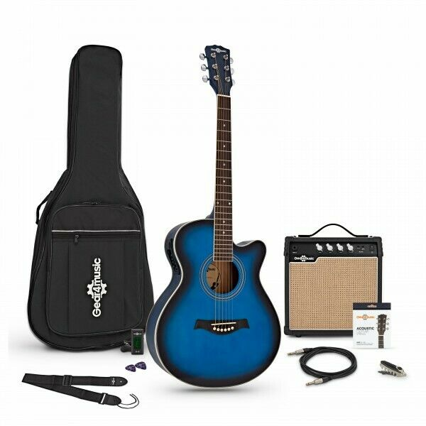 Single Cutaway Electro Acoustic Guitar + 15W Amp Pack Blue