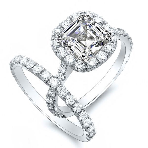 1.86 Ct. Asscher Cut Round Pave Halo Diamond 14K Gold Bridal Ring Set GIA D,VS2