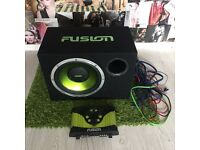 FUSION SUBWOOFER SUB AND 300 WATT AMP ALL CABLES AND WIRES SUPPLIED