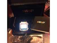 SWAP MOBILE PHONE WATCH WITH LEATHER STRAP