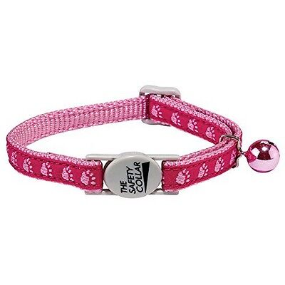 Casual Kitty ZA12275 Meow Town Two-Tone Pawprint Cat Collar- 3/8-Inch- Pink -