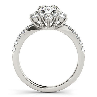 1.00 carat GIA Round Diamond G color SI2, 18k White Gold Cluster Ring with Band 2