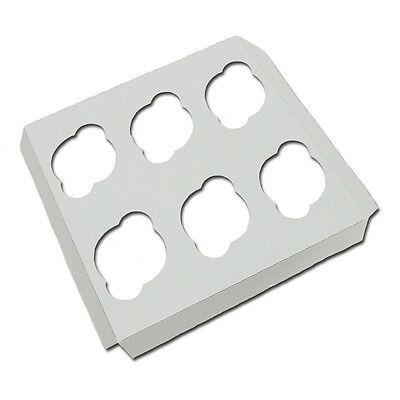 6 Count Standard Cupcake Insert Fits 10x10 Cake Box White 10 Inserts