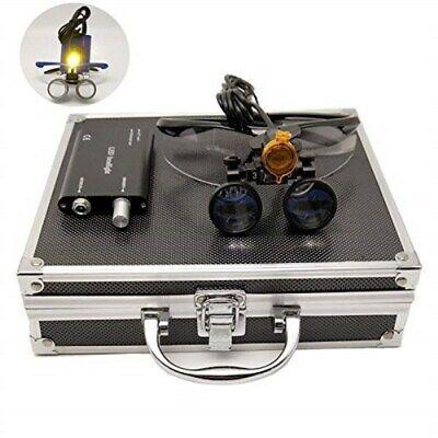 Dental 3.5x Binocular Loupes 3w Led Headlight W Filter Aluminum Box Black
