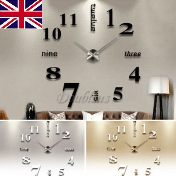 UK Luxury 3D DIY Wall Clock Home Decoration Mirror Living Room Large Art Design