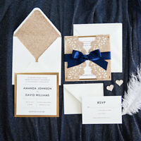 Laser Cut, Foil, Glittery Wedding Invitations Card Free Delivery