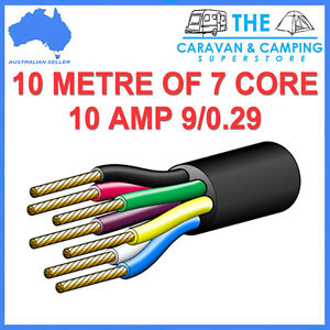 10M OF 7 CORE WIRE CABLE TRAILER AUTOMOTIVE BOAT CARAVAN COIL V90 PVC INSULATED