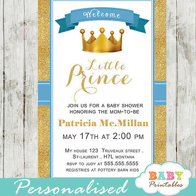 Blue and Gold Little Prince Baby Shower Invitations - Printable Digital File - Little Prince Baby Shower Invitations