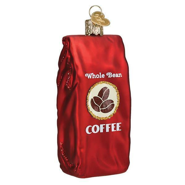 BAG OF COFFEE BEANS OLD WORLD CHRISTMAS GLASS JAVA BEVERAGE ORNAMENT NWT 32387