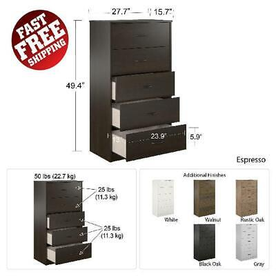 5 Drawer Wood Dresser Chest of Drawers Clothes Storage Durable Modern Bedroom