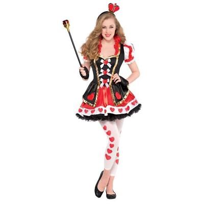 Teen Queen of Hearts Costume Girls Alice Book Day Fancy Dress Outfit 14-16yrs