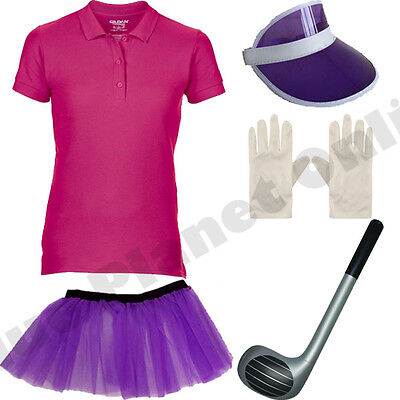 LADIES GOLFER GOLF FANCY DRESS COSTUME & CLUB CRAZY PUB HEN NIGHT PARTY DO.