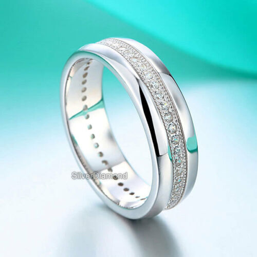 Fine 925 Sterling Silver Men Wedding Band Ring Simulated Diamond
