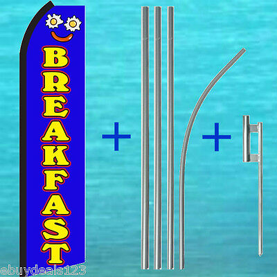 Breakfast Flutter Feather Flag 15 Tall Pole Mount Swooper Banner Sign Kit