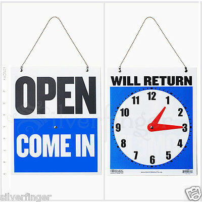"""• OPEN CLOSED Sign / WILL RETURN • CLOCK : Business Hours —Hanging 2-Sided 9x7½"""""""