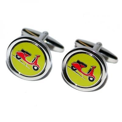 Red Scooter Round Cufflinks MOD Moped Biker Rider Cruise Party Present Gift Box (Red Rider Scooter)