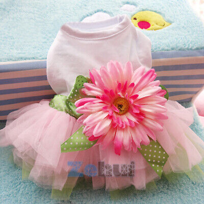 Cute Sunflower Tulle Tutu Skirt Pet Small Dog Puppy Cat Sweet Vest - Dog Tutu
