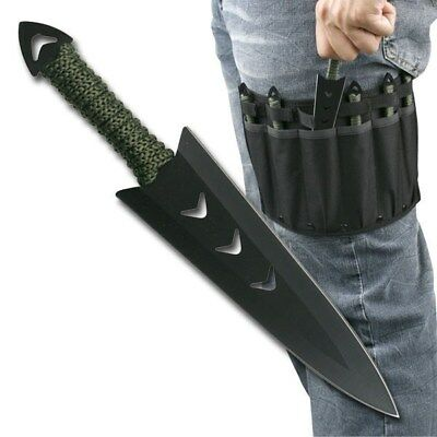 "6 PC STEEL 6.5"" THROWING KNIVES SET w/ LEG STRAP SHEATH Kunai Ninja Metal Knife"