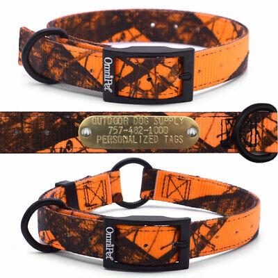 Hunting Dog Collar Blaze Orange Mossy Oak Camo Nylon with Custom Brass Name -