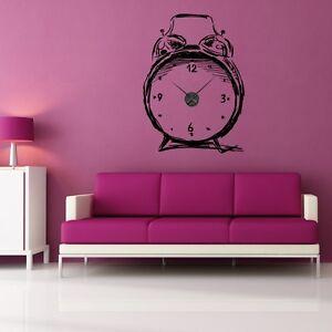 sticker mural horloge g ante reveil esquisse avec m canisme aiguilles ebay. Black Bedroom Furniture Sets. Home Design Ideas