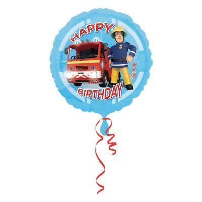 45.7cm Blue Fireman Sam Happy Birthday Children's Party Round Foil Balloon - Fireman Balloons