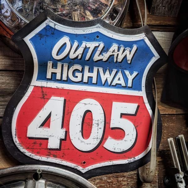 """Street Outlaws - """"Outlaw Highway 405"""" Highway Marker Plate"""
