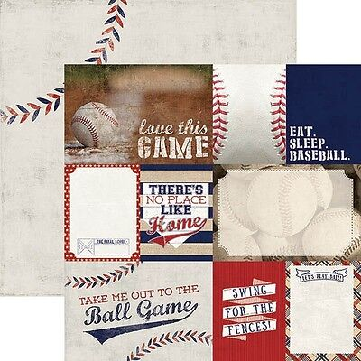 Scrapbooking Crafts 12X12 Paper DS Baseball Tags Ball Game Eat Sleep Swing (12x12 Paper Baseball)
