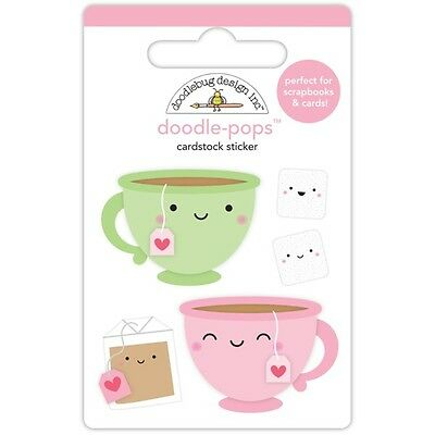 Scrapbooking Crafts Doodlebug CS Stickers Doodle-Pop Tea for Two Cups Faces  - Stickers For Scrapbooking