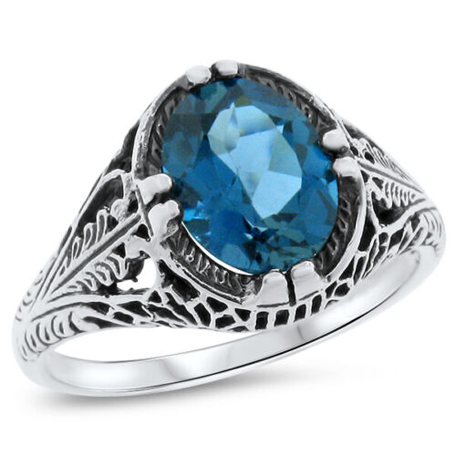 2.2 Ct GENUINE LONDON BLUE TOPAZ 925 SILVER ANTIQUE STYLE RING SIZE 9       #720