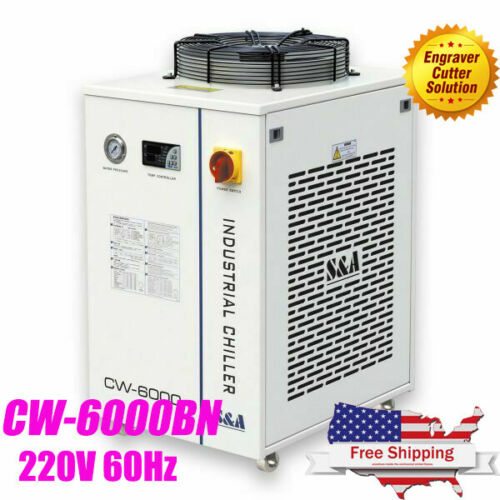 S&A CW-6000BN Water Chiller for 100W Solid-state Laser, 22KW CNC Spindle 220V