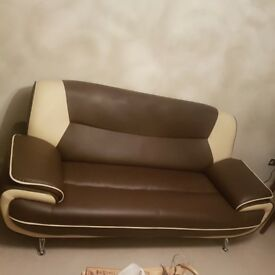 3 seater sofa brown and beige