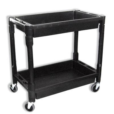 Heavy Duty Utility Cart Dolly 2 Tray Storage Shelves Service Wagon 300 Lbs